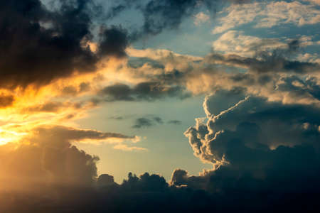 Dramatic sky with clouds on sunset. Nature composition. Summer background Stock fotó - 151152111