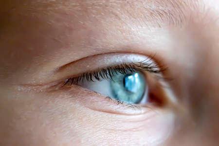 Girl's eye close up. Selective focus