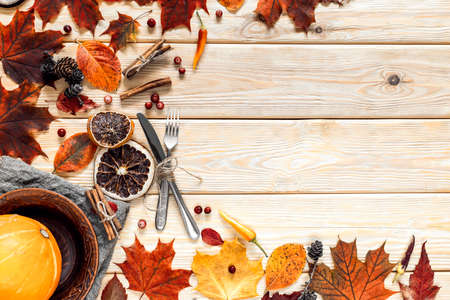 Harvest or Thanksgiving background with autumn fruits and gourds on rustic wooden table