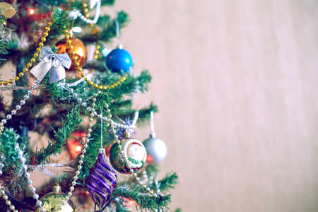 Christmas and New Year's toys on the Christmas tree. Selective focus Stok Fotoğraf