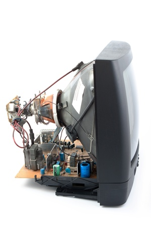 disassemble: disassemble crt television on a white background