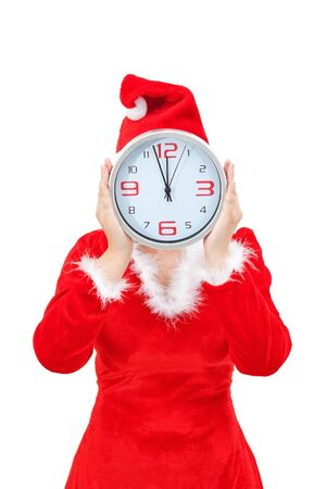 Girl holding Christmas hours.On a white background. photo