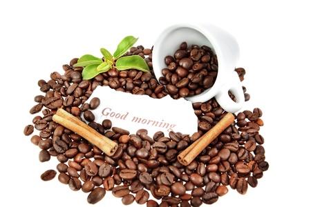 composici�n de una taza de caf�, la canela y las plantas. Foto de archivo - 11430321