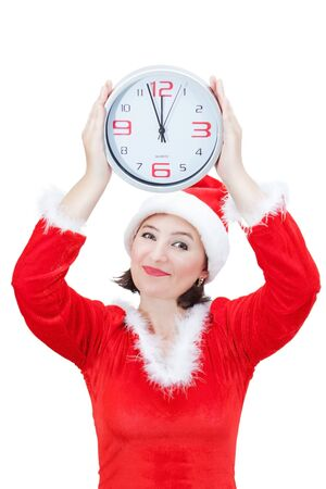 Beautiful girl holding Christmas hours. On a white background. photo