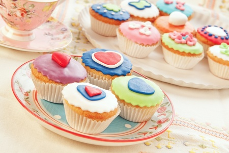 group of colorful cupcakes. photo