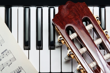 element of the guitar on the piano photo