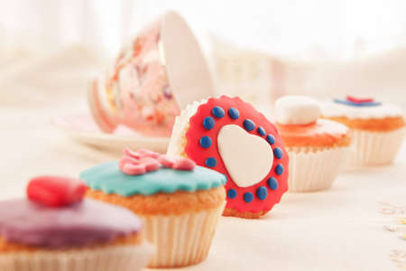 Colorful cupcakes for dessert  photo
