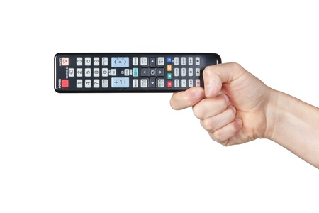 TV remotes in their hands.On a white background.
