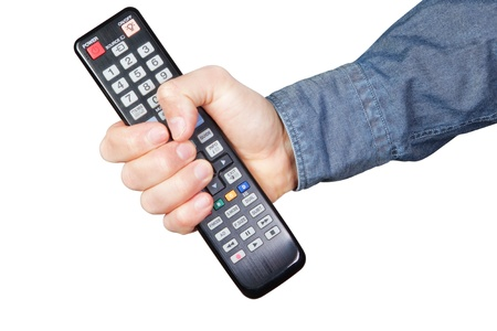 clamped: remote for tv clamped in the hand
