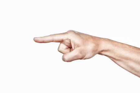 Arm and index finger on a white background  photo