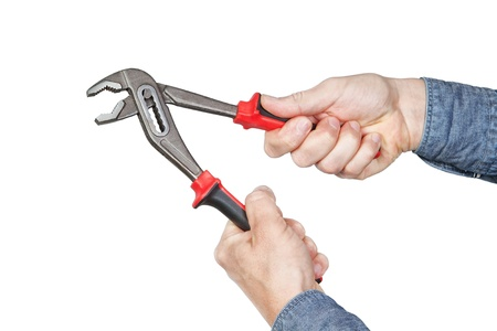 In the hands of the wrench on a white background  photo