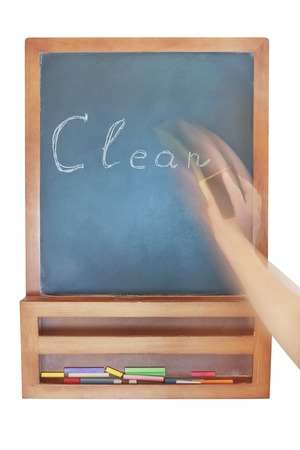 Wiping-Cleaning the inscription on the chalkboard   photo