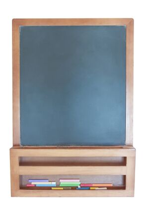 A blank-clean chalkboard  On a white background  photo