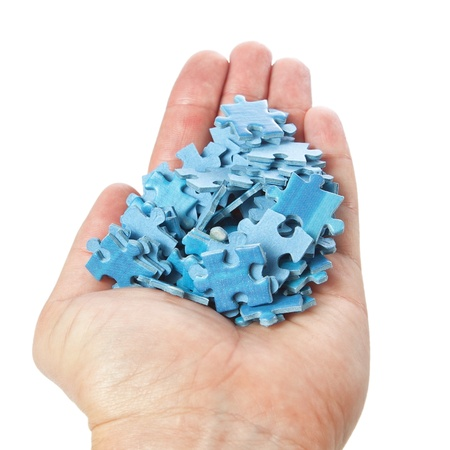 A stack of puzzles palm on a white background  photo