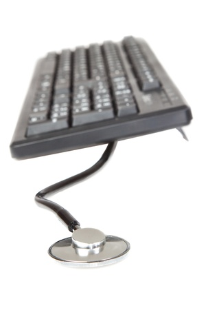 The concept of the image, the tool a programmer, keyboard  On a white background Stock Photo - 13773267