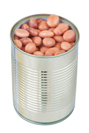 fiber food: Open a can with a tin beans  On a white background  Stock Photo
