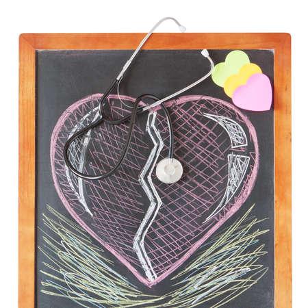 Estetoscopio a bordo y dibujar un coraz�n Foto de archivo - 13983796