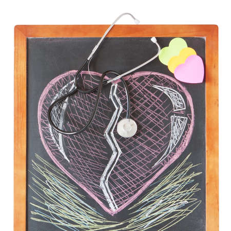 Stethoscope on board and draw a heart photo