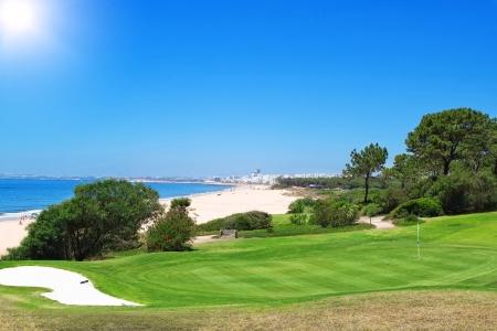 A golf course near the beach in Portugal  Summer  photo
