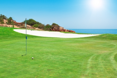 Golf course on the background of the sea  Summer  Stock Photo
