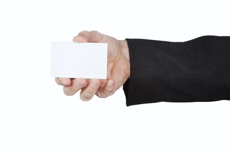 Man in the jacket keeps a blank card. photo
