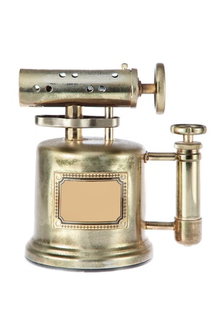 vintage cigar: Antique gas lighter. On a white background. Stock Photo