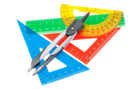 A set of rulers for the school and a compass on a white background. photo