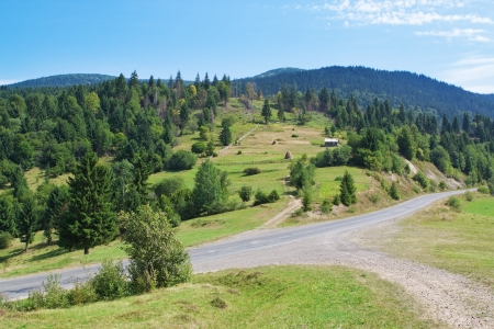 Summer landscape Carpathian road  photo