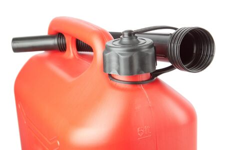 lubricate: Diesel Canister jerrycan with a watering can. On a white background. Stock Photo