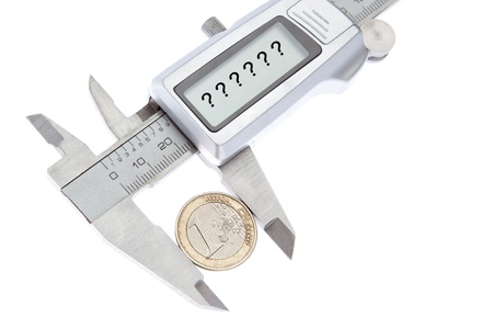 vernier: What is the price of the euro in the future? Caliper measurement. Stock Photo