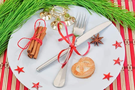 Kitchen arrangement of Christmas objects. photo