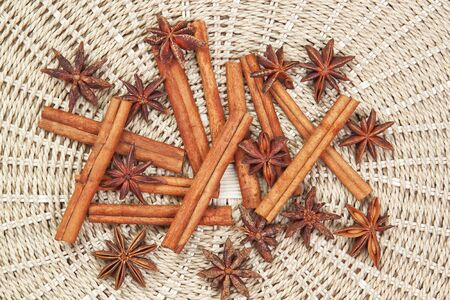 Group of spices with cinnamon and anise on Christmas  photo