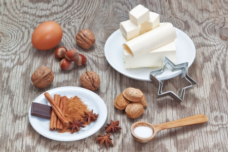 Accessories ingredients for baking sweets for Christmas Stock Photo - 16002966