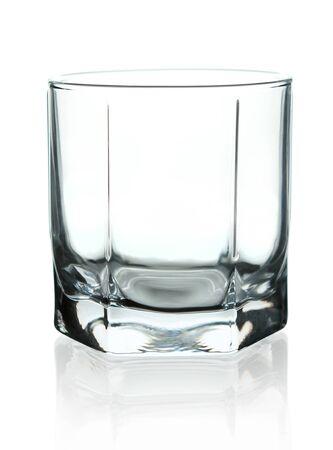 Crystal empty glass to whiskey. On a white background. Standard-Bild