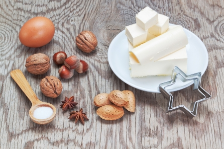 Ingredients for baking sweets for Christmas  On a wooden texture Stock Photo - 16456532