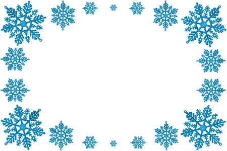 snowflake border: Christmas decorative frame of blue snowflakes. On a white background.