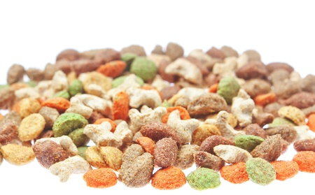 Multicolored food for cats and dogs. On a white background. Stock Photo - 16875143