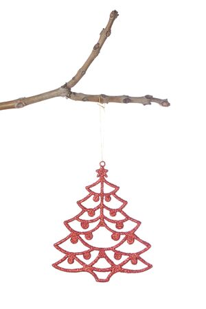 Christmas tree decorations on a branch. On a white background. photo