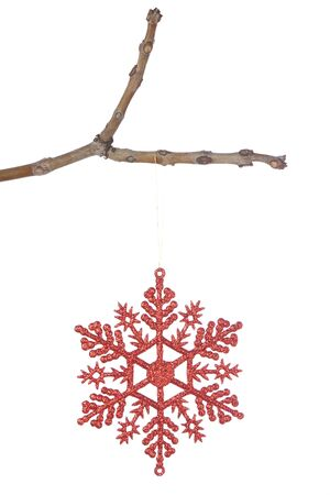 Decorative red christmas snowflake on a branch. On a white background. photo