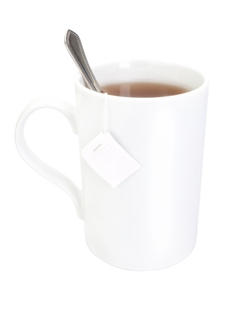 Porcelain cup of tea on a white background  Close-up  photo