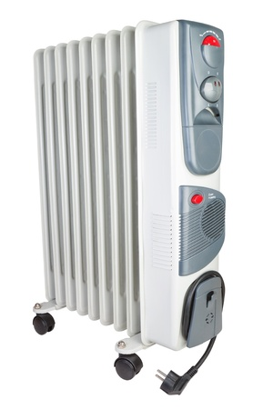Costal electric heater on oil  On a white background