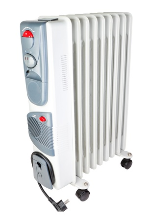 Indoor oil electric heater  On a white background  photo