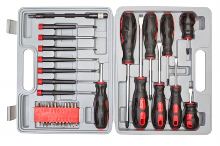 Box set of different tools for mechanics  photo