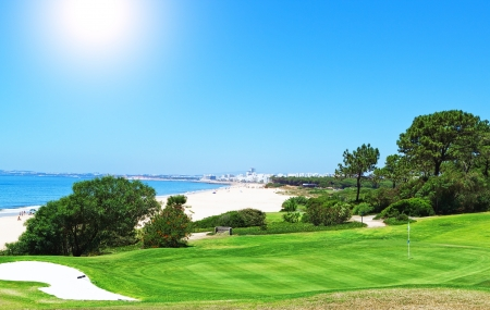 pacific ocean: Summer day on the golf full of the sea  Portugal