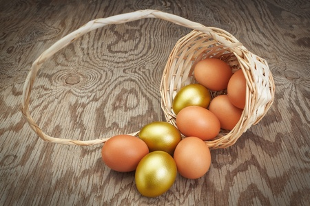 Easter eggs in an inverted basket. Group of golden eggs. photo