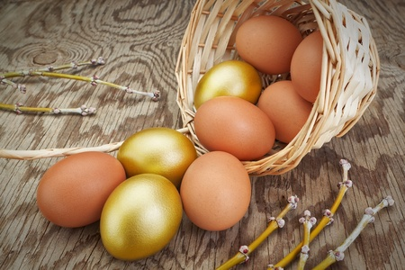 Group gold eggs spilled out of a basket. At Easter. photo