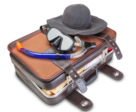 Travel set on suitcase  snorkel mask Panama. On a white background. photo