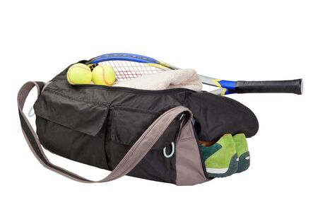 Tennis bag. With the racket and tennis ball. photo