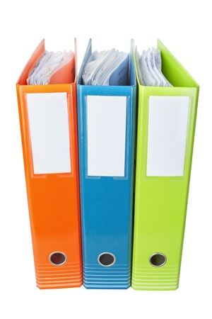 Office folders with documents  On a white background  photo