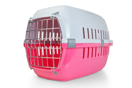 cat carrier: Cage for transporting pets, cats, dogs  With the door closed  Stock Photo